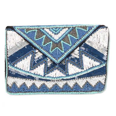 Geometric Beaded Evening Bag Crafted in India