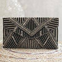 Beaded evening handbag, 'Gleaming Glamour' - Metallic and Black Beaded Evening Handbag from India