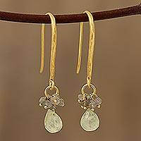 Gold plated prehnite and labradorite cluster earrings, 'Fascinating Glam' - Gold Plated Prehnite and Labradorite Cluster Earrings