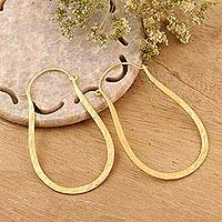 Gold plated sterling silver hoop earrings, 'Mystic Loops' - 22k Gold Plated Sterling Silver Hoop Earrings from India