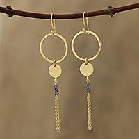 Gold plated iolite dangle earrings, 'Dreamy Rings' - Circular Gold Plated Iolite Dangle Earrings from India