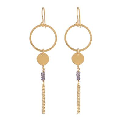 Circular Gold Plated Iolite Dangle Earrings from India