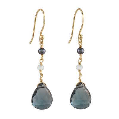 Gold Plated London Blue Topaz Dangle Earrings from India