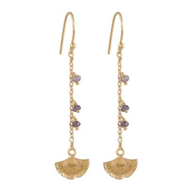 Gold Plated Iolite Ginkgo Leaf Dangle Earrings from India
