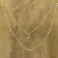 Gold plated labradorite station necklace, 'Misty Grace' - Gold Plated Labradorite Station Necklace from India