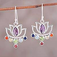 Multi-gemstone dangle earrings, 'Lotus Chakra' - Floral Multi-Gemstone Chakra Dangle Earrings from India