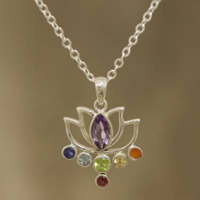 Multi-gemstone pendant necklace, Lotus Chakra