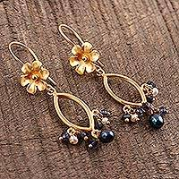 Gold plated cultured pearl and iolite dangle earrings, 'Floral Glam' - Floral Cultured Pearl and Iolite Dangle Earrings