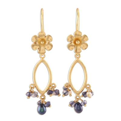 Floral Cultured Pearl and Iolite Dangle Earrings