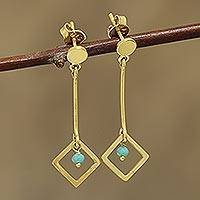 Gold plated chalcedony dangle earrings, 'Square Dazzle' - 22k Gold Plated Chalcedony Dangle Earrings from India