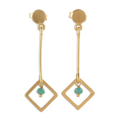 22k Gold Plated Chalcedony Dangle Earrings from India