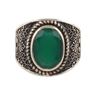 Men's onyx ring, 'Elite Green' - 6-Carat Men's Green Onyx Ring from India