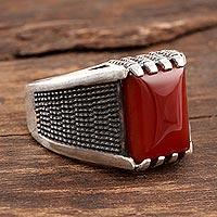 Men's onyx ring, 'Red-Orange Strength'