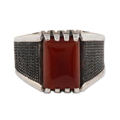 Men's onyx ring, 'Red-Orange Strength' - Men's Red-Orange Onyx Ring from India
