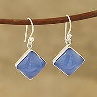 Chalcedony dangle earrings, 'Sky Squares' - Square Blue Chalcedony Dangle Earrings Crafted in India
