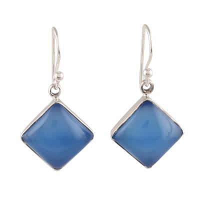 Square Blue Chalcedony Dangle Earrings Crafted in India