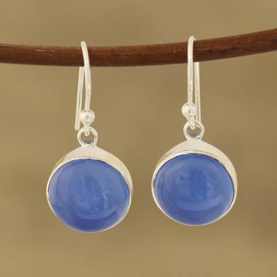 Chalcedony dangle earrings, 'Round Sky' - Round Blue Chalcedony Dangle Earrings Crafted in India