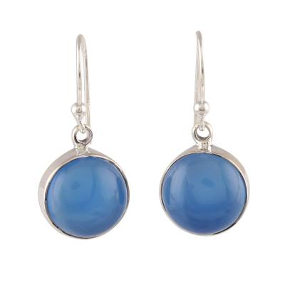 Round Blue Chalcedony Dangle Earrings Crafted in India