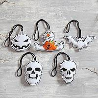 Wool felt ornaments, 'Bright Halloween' (set of 5) - White Wool Felt Halloween Ornaments from India (Set of 5)