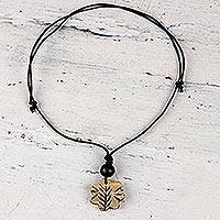 Bone pendant necklace, 'Floral Glory' - Floral Bone Pendant Necklace from India