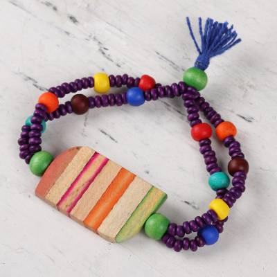 Wood and resin beaded pendant bracelet, 'Rainbow Fascination' - Wood and Resin Beaded Pendant Bracelet from India