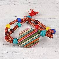 Wood and resin beaded pendant bracelet, 'Hexagon Rainbow' - Hexagonal Wood and Resin Beaded Pendant Bracelet from India