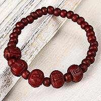 Bone beaded stretch bracelet, 'Red Expression' - Red Bone Beaded stretch Bracelet from India