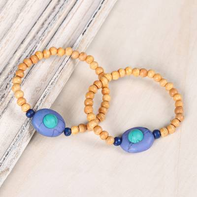 Wood and resin beaded stretch bracelets, Watery Planets (pair)