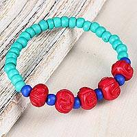 Bone beaded stretch bracelet, 'Colorful Expression' - Colorful Bone Beaded Stretch Bracelet from India
