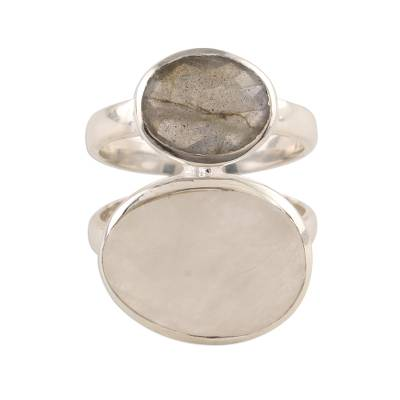Rainbow moonstone and labradorite cocktail ring, 'Evening Elegance' - Rainbow Moonstone and Labradorite Cocktail Ring from India