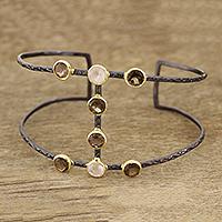 Gold accented smoky quartz and rose quartz cuff bracelet, 'Evening Grandeur' - Gold Accented Smoky Quartz and Rose Quartz Cuff Bracelet