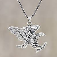 Men's sterling silver pendant necklace, 'Excellent Eagle' - Men's Sterling Silver Eagle Pendant Necklace from India