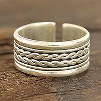 Sterling silver wrap ring, 'Glimmering Rope' - Rope Pattern Sterling Silver Wrap Ring from India
