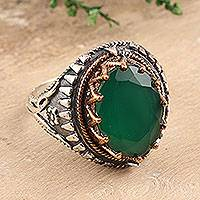 Onyx single-stone ring, 'Verdant Crown' - 6-Carat Green Onyx Single-Stone Ring from India