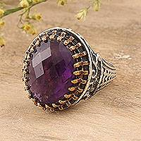Amethyst single-stone ring, 'Lilac Gleam' - 10.5-Carat Amethyst Single-Stone Ring from India