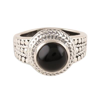 Patterned Black Onyx Cocktail Ring from India