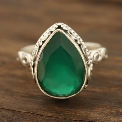 Onyx cocktail ring, 'Glittering Verdant Drop' - Glittering Green Onyx Cocktail Ring from India