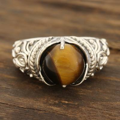 Tiger's eye cocktail ring, 'Earthen Bliss' - Patterned Tiger's Eye Cocktail Ring from India