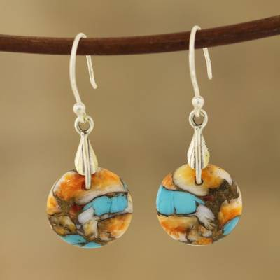Composite turquoise dangle earrings, 'Moon of Mystery' - Circular Composite Turquoise Dangle Earrings from India