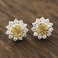 Citrine stud earrings, 'Gleaming Flower' - Floral Citrine Stud Earrings Crafted in India