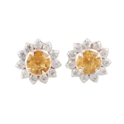 Floral Citrine Stud Earrings Crafted in India