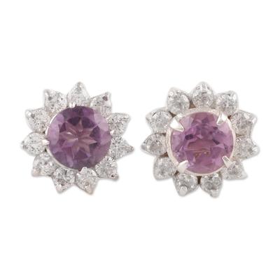 Amethyst stud earrings, 'Gleaming Flower' - Floral Amethyst Stud Earrings Crafted in India