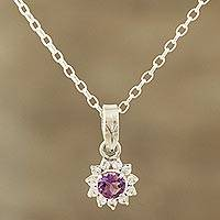 Amethyst pendant necklace, 'Gleaming Flower' - Floral Amethyst Pendant Necklace Crafted in India