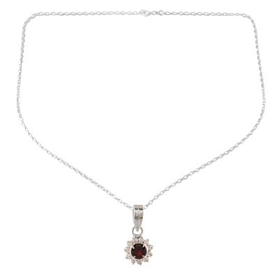 Garnet pendant necklace, 'Gleaming Flower' - Floral Garnet Pendant Necklace from India