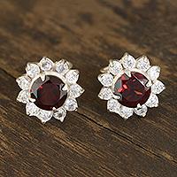 Garnet stud earrings, 'Gleaming Flower'