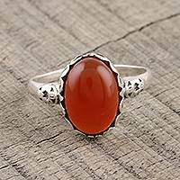 Carnelian cocktail ring, 'Glamorous Beauty' - Oval Carnelian Cocktail Ring from India
