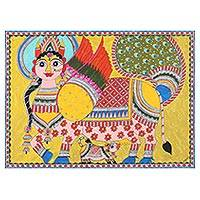 Madhubani painting, 'Kamadhenu' - Madhubani Painting of Cow Mother Kamdhenu from India