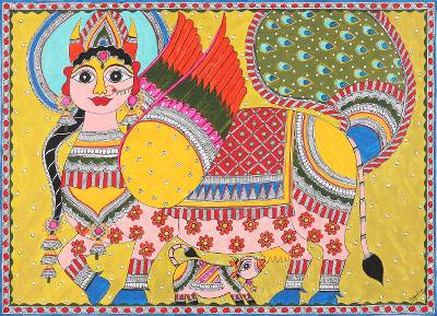 Madhubani Painting of Cow Mother Kamdhenu from India