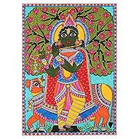 Madhubani painting, 'Krishna with Cow' - Signed Madhubani Painting of Lord Krishna from India