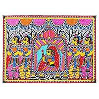 Madhubani painting, 'Doli Pahaar' - Bridal Procession Madhubani Painting from India